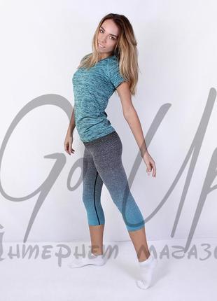 Женские спортивные лосины, капри для фитнеса, йоги, бега, одежда в спортзал. код:120202