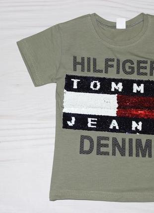 Хлопковая серая футболка с надписями и двухсторонними пайетками, турция