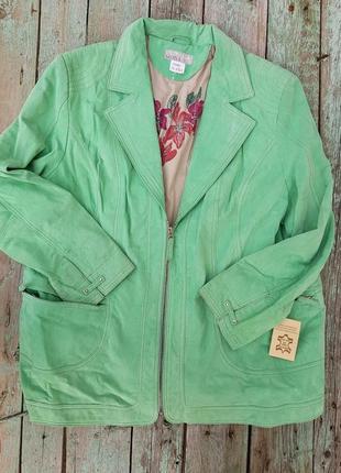 Замшевая куртка мятного цвета! xxl