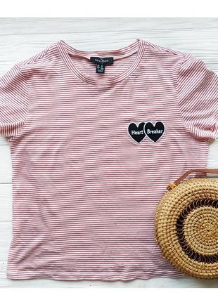 Хлопковая футболка майка топ в красную полоску с надписью сердцем