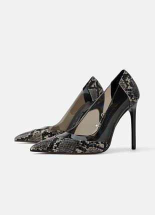 Туфли с эффектом змеиной кожи