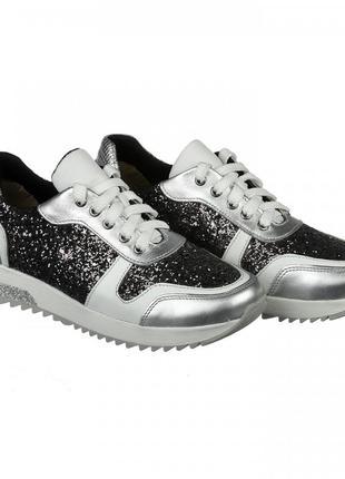 Кожаные серебристые кроссовки с блестящими вставками натуральная кожа