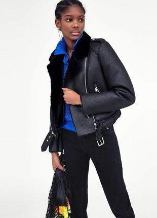 Куртка на меху байкерская  куртка дубленка размер xs