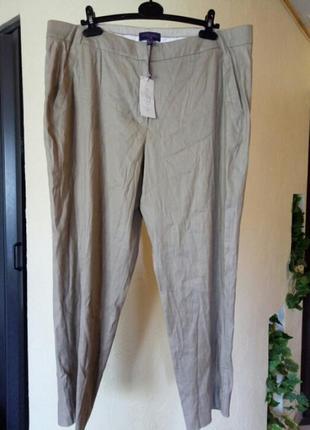 Летние,натуральные,зауженные к низу брюки,лен,плюс вискоза,большой размер1 фото
