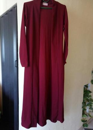 Трендовый цвет 《красная груша》длинный трикотажный  жакет,кардиган