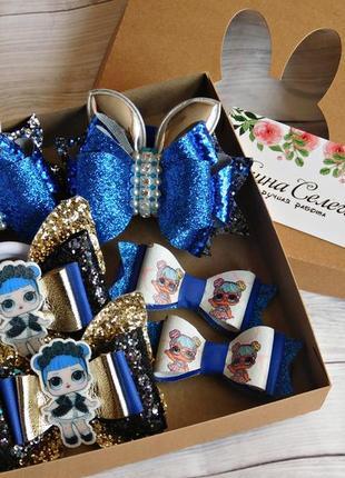 Набор детских украшений для волос в коробочке, цвет синий