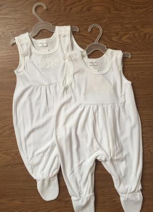 Белый велюровый боди ползунки штаны