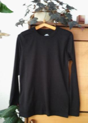 Черный лонгслив- футболка с длинным рукавов,  органический хлопок, на рост до 160см