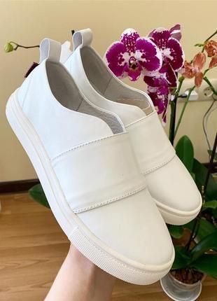 Натуральная кожа люксовые стильные белые кеды