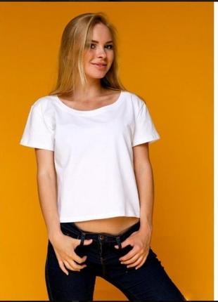 Белая укороченная футболка топ коттон