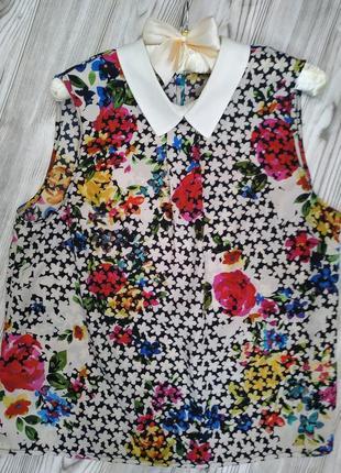 Блуза*блузка*принт цветы*с воротником*без рукавов