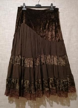 Шикарная итальянская юбка шоколадного цвета.