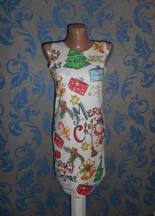 Удобное,  мягкое платье с веселым новогодним принтом.  love topping