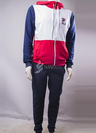 Спортивный костюм мужской fila синий с белым и красным на молнии с капюшоном