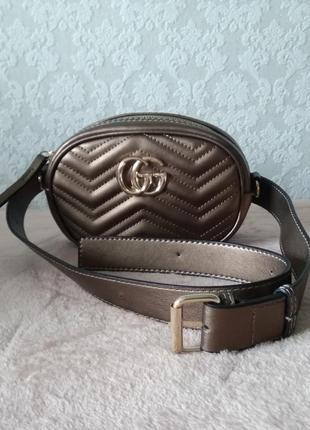 Клатч сумка на пояс, поясная сумка бронза