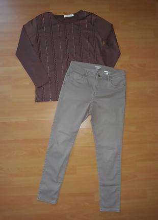 Джинсы, джинсовые брюки бежевые 44 р, джинси
