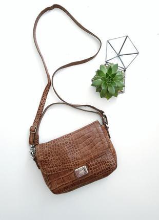 Кожаная коричневая сумка из фактурной кожи