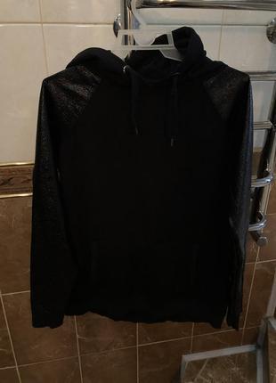 Чёрное худи с капюшоном с кармашками с лаковыми карманами river island2 фото