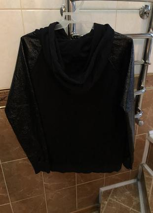 Чёрное худи с капюшоном с кармашками с лаковыми карманами river island5 фото