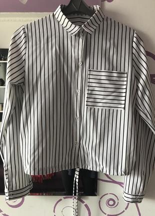 Рубашка блуза полоска на зав'язку