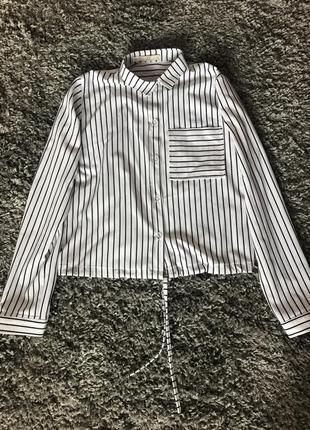 Рубашка блуза полоска на зав'язку3 фото