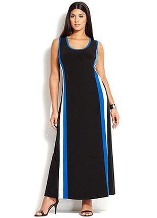 Платье макси прямое с контрастными вертикальными линиями по переду на 58-62 р