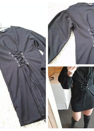 Мега стильное платье с карсетной затяжкой, bershka, p. 8-12