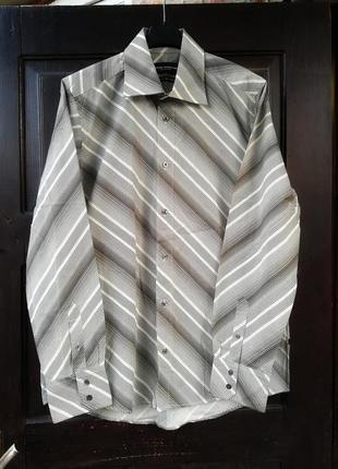 Рубашка мужская tom tailor коттон хлопок в полоску диагональ