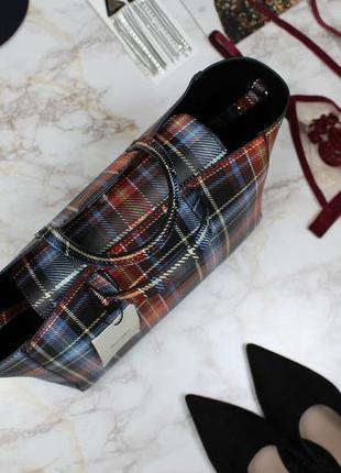 Обнова! сумка с короткими ручками с длинной ручкой плотная клетчатая в клетку bershka8 фото