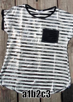 Летняя женская футболка в полоску с серебряным напылением