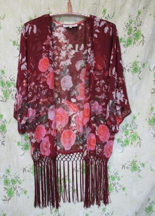 Яркая шифоновая накидка кимоно с бахромой в цветочный принт3 фото