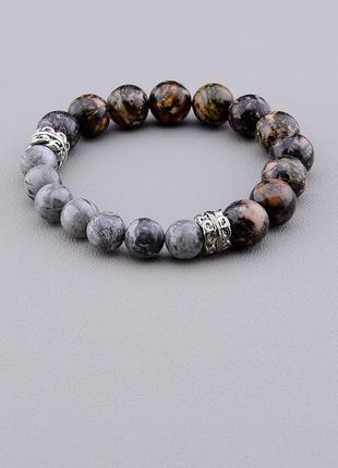 Браслет 'sunstones' родонит,яшма 18 см. серебро(925) 0711210