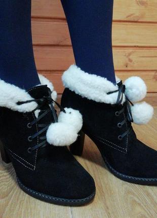 Зимние ботинки из натуральной замши на овчине размер 39 акция цена до 10.07