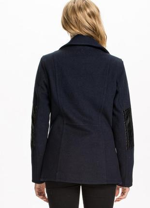 Обнова! пальто укороченное куртка синее комби вставки эко кожа шерсть в составе качество2 фото