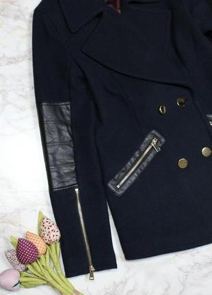 Обнова! пальто укороченное куртка синее комби вставки эко кожа шерсть в составе качество4 фото