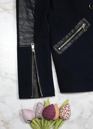 Обнова! пальто укороченное куртка синее комби вставки эко кожа шерсть в составе качество6 фото