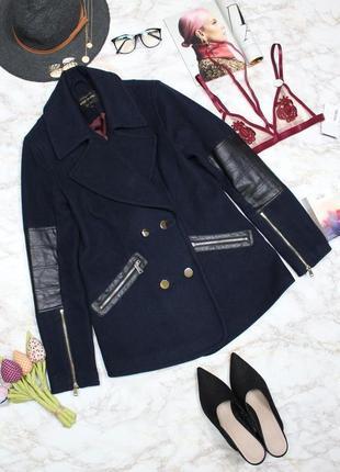 Обнова! пальто укороченное куртка синее комби вставки эко кожа шерсть в составе качество3 фото