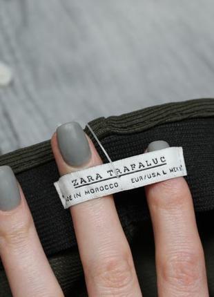 Обнова! юбка мини с воланом рюшей хаки оливка в рубчик zara3 фото