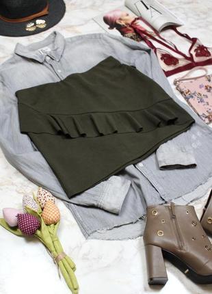 Обнова! юбка мини с воланом рюшей хаки оливка в рубчик zara2 фото