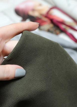 Обнова! юбка мини с воланом рюшей хаки оливка в рубчик zara4 фото