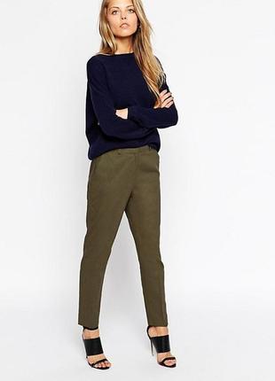 Обнова! брюки штаны кежуал хаки оливка зауженные высокая талия