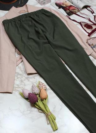 Обнова! брюки штаны кежуал хаки оливка зауженные высокая талия8 фото