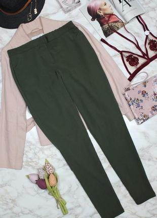 Обнова! брюки штаны кежуал хаки оливка зауженные высокая талия2 фото