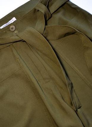 Премиальные широкие брюки-палаццо хаки3 фото