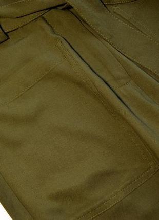Премиальные широкие брюки-палаццо хаки5 фото