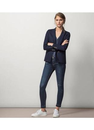 Обнова! блейзер удлиненный пиджак трикотажный глубокий синий бренд качество massimo dutti