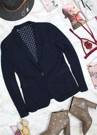 Обнова! блейзер удлиненный пиджак трикотажный глубокий синий бренд качество massimo dutti2 фото