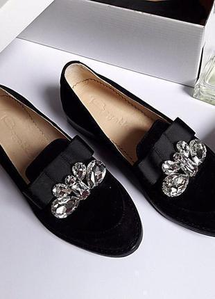 Туфли на низком ходу натуральная замша декор камнями