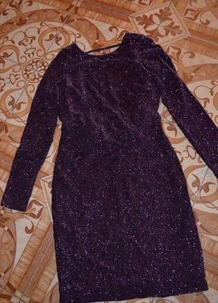 Новое супер качественное блестящее платье h&m. металлик! голая спинка!