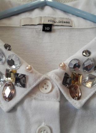 Блуза рубашка без рукавов  декор камнями бренд river island